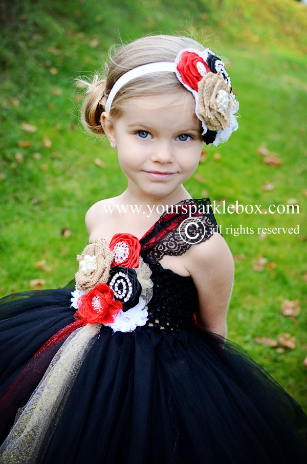 ced383ebe8a Black Red Lace Vintage Flower Girl Dress by YourSparkleBox