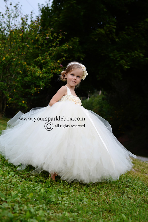 Simply Ivory Flower Girl Dress by YourSparkleBox