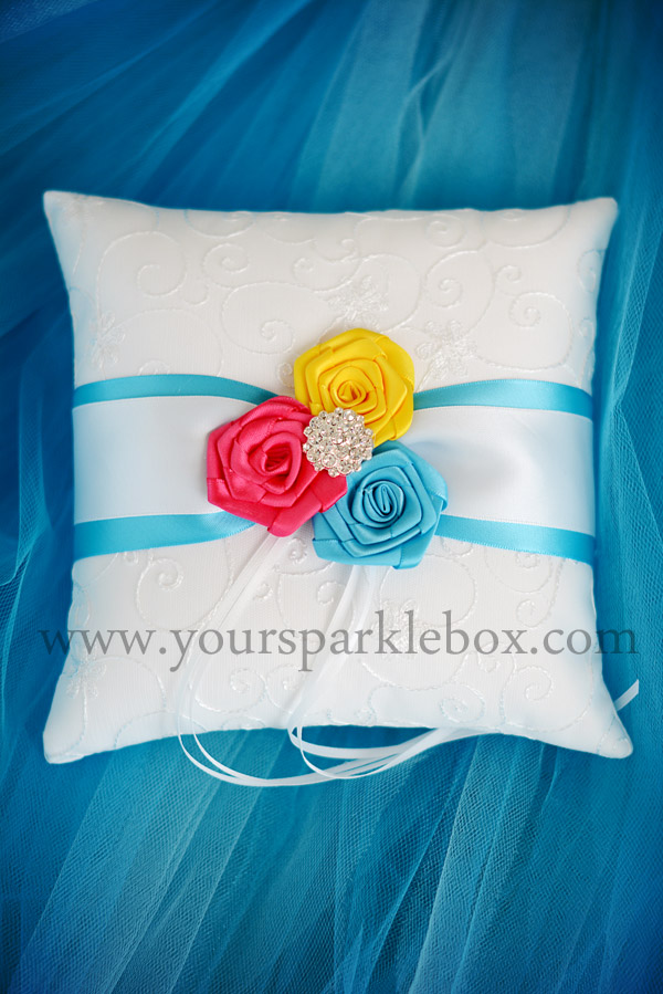 Modern Style Ring Bearer Pillow Turquoise, Cherry, PInk and Sunshine Yellow