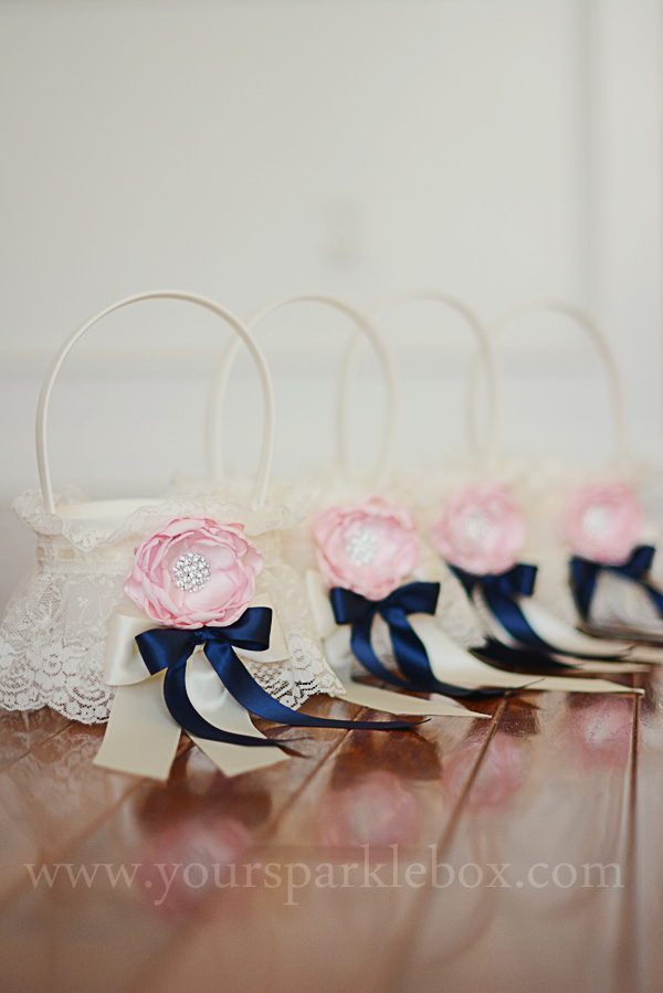 Ivory, Navy and Pink Flower Girl Basket