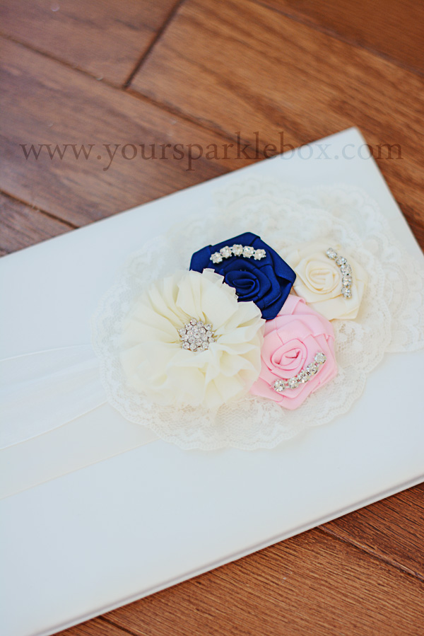 Ivory, Navy and Pink Guest Book