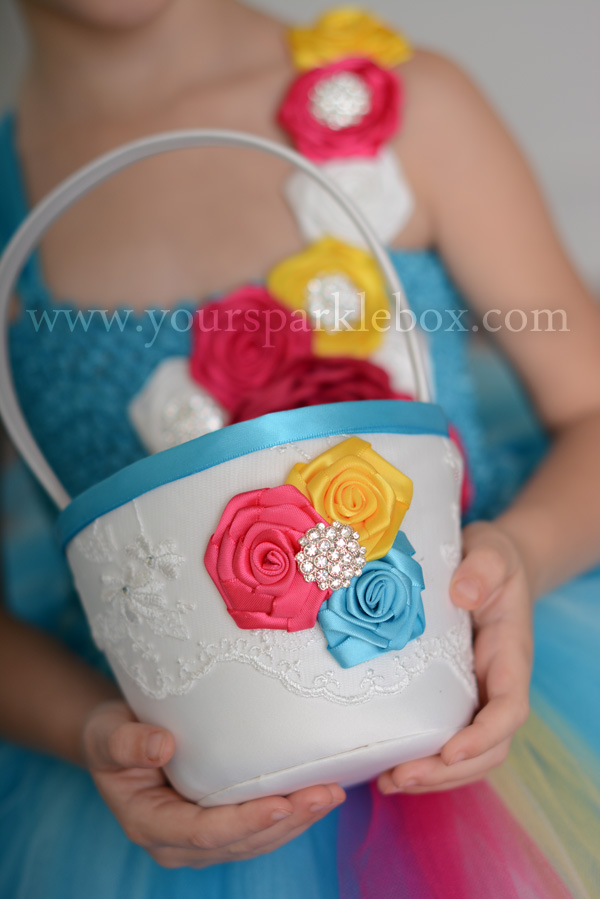 Modern Style Flower Girl Basket White, Turquoise, Cherry PInk and Sunshine Yellow