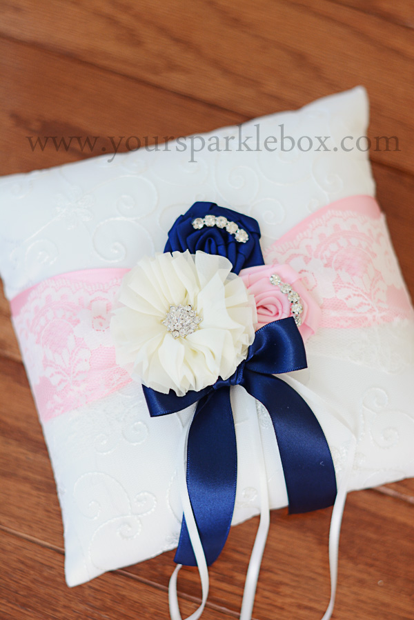 Ivory, Navy and Pink Ring Bearer Pillow