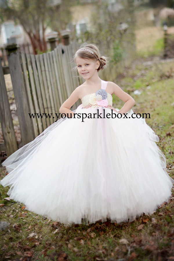 Ivory, Pink and Silver Tutu Dress