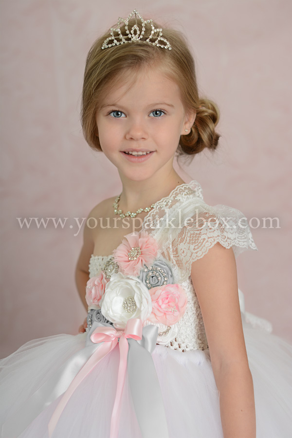 White, Pink and Silver Tutu Dress